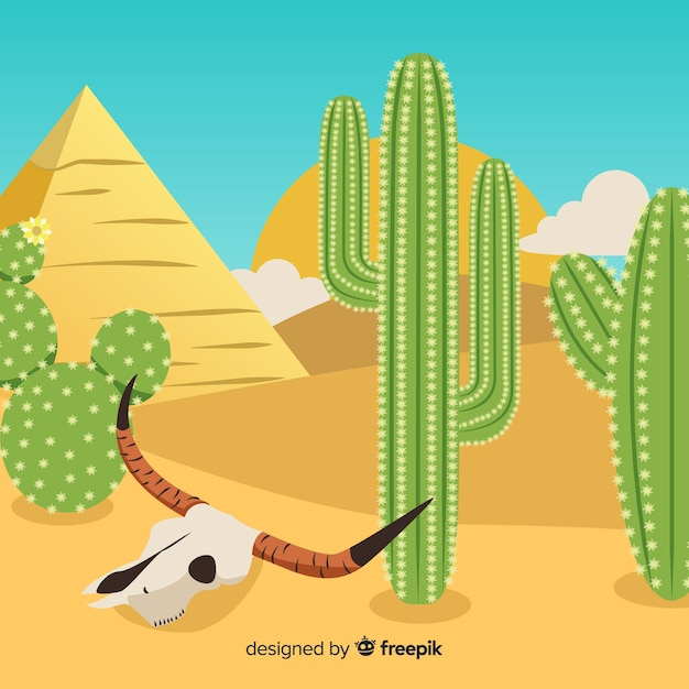 Cactus with skull illustration Free Vector