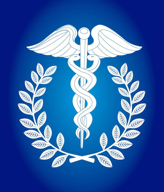 Caduceus sign over blue background vector illustration Premium Vector