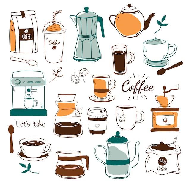 카페와 커피 하우스 패턴 벡터 무료 벡터
