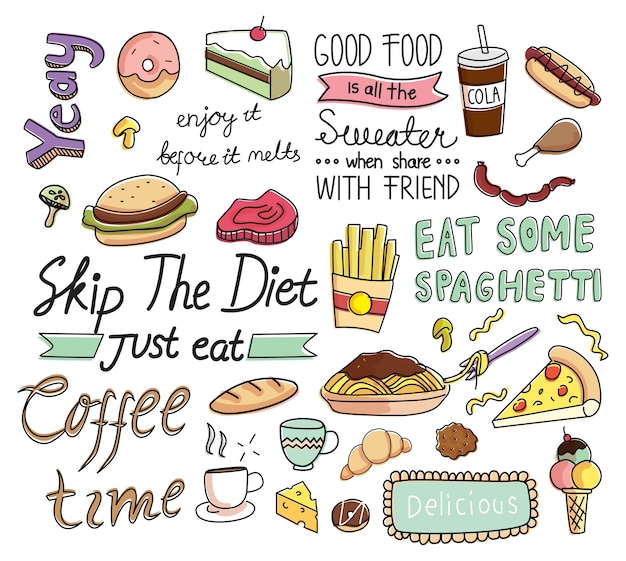 Cafe background in doodle style Premium Vector