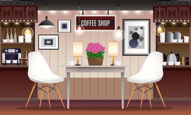 Кафе бар интерьер Бесплатные векторы