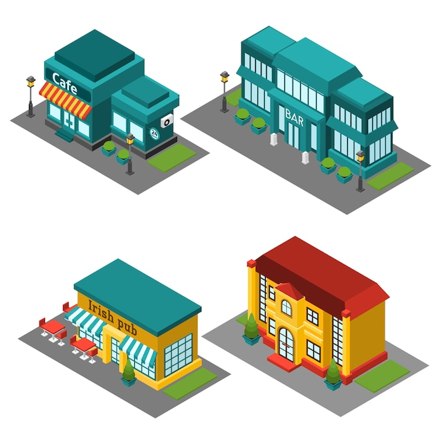 Cafe building isometric Free Vector