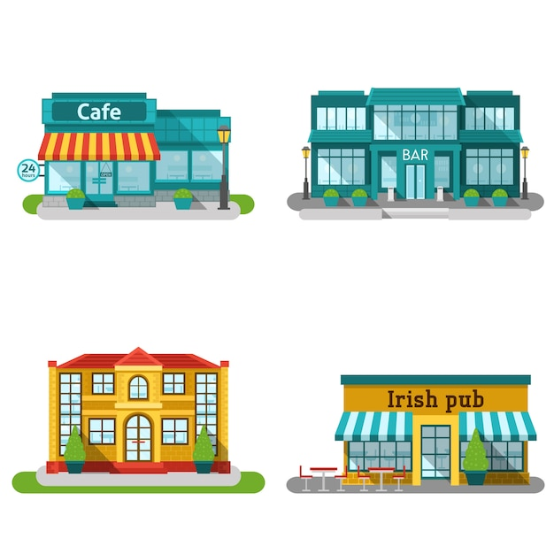 Cafe buildings flat set Free Vector