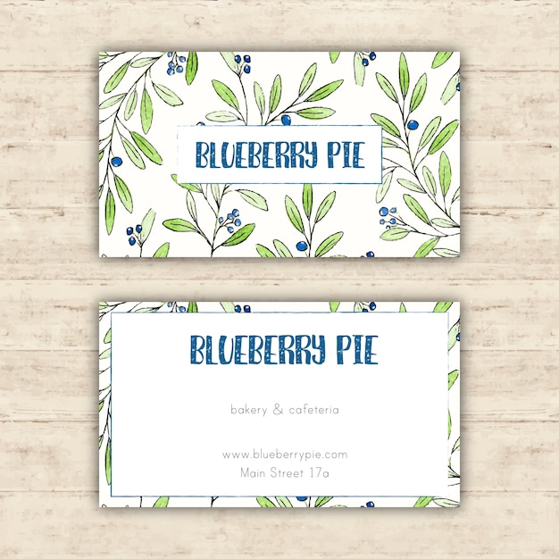 Cafe business card template with hand drawn leaves
