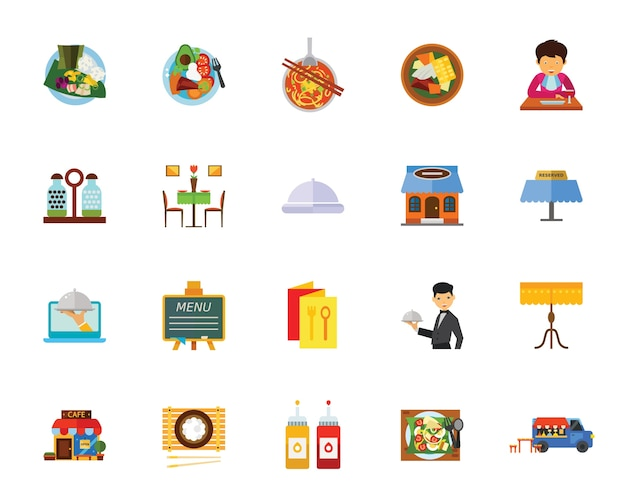 Cafe icon set Free Vector