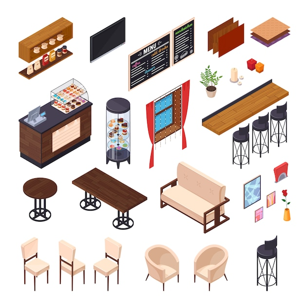 Cafe interior restaurant pizzeria bistro canteen isometric elements set of isolated furniture and shop display images vector illustration Free Vector