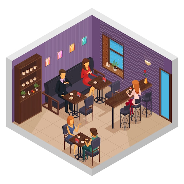 Cafe interior restaurant pizzeria bistro canteen isometric indoor composition with cupboard and visitors sitting at tables vector illustration Free Vector