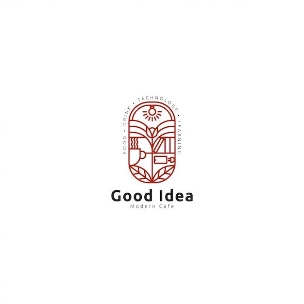Cafe logo premium with line art Premium Vector