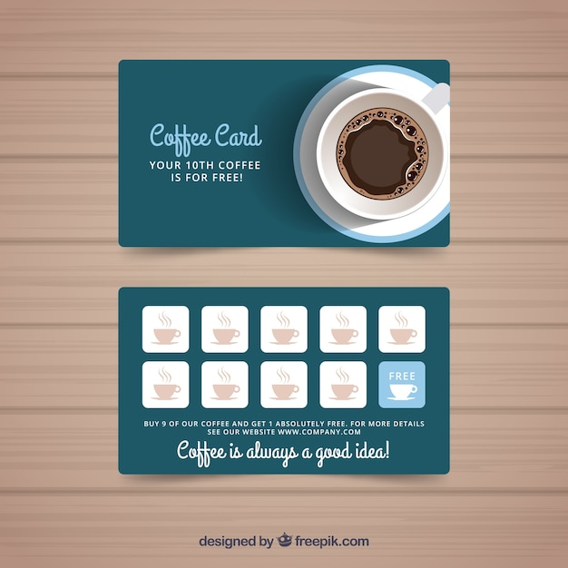 Cafe loyalty card template with elegant style Free Vector
