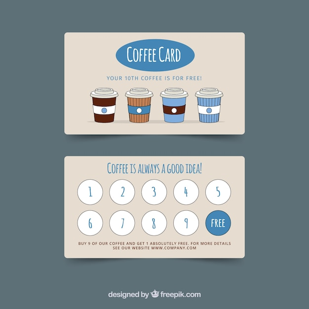 cafe loyalty card template with elegant style vector. Black Bedroom Furniture Sets. Home Design Ideas