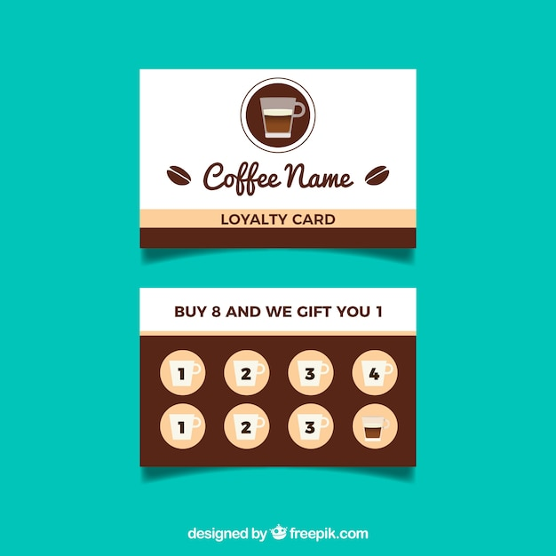 cafe loyalty card template with flat design vector free download