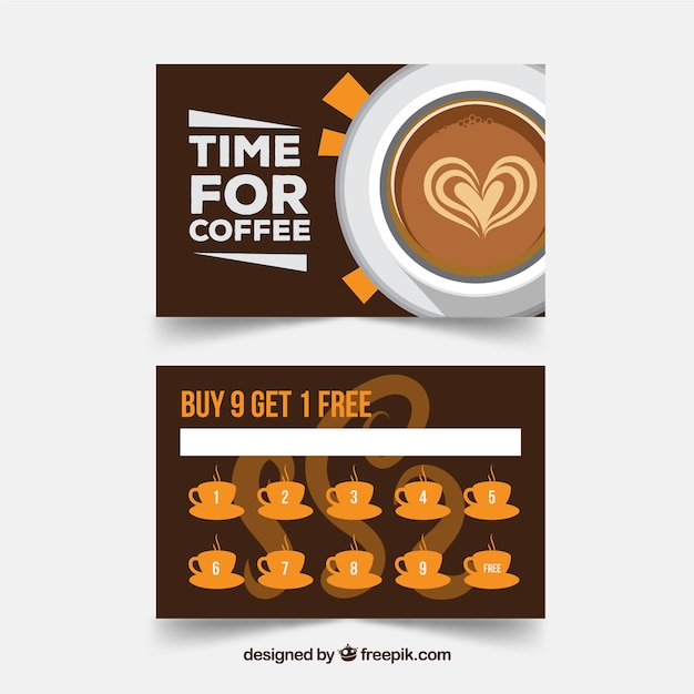 Cafe loyalty card template with flat design Free Vector