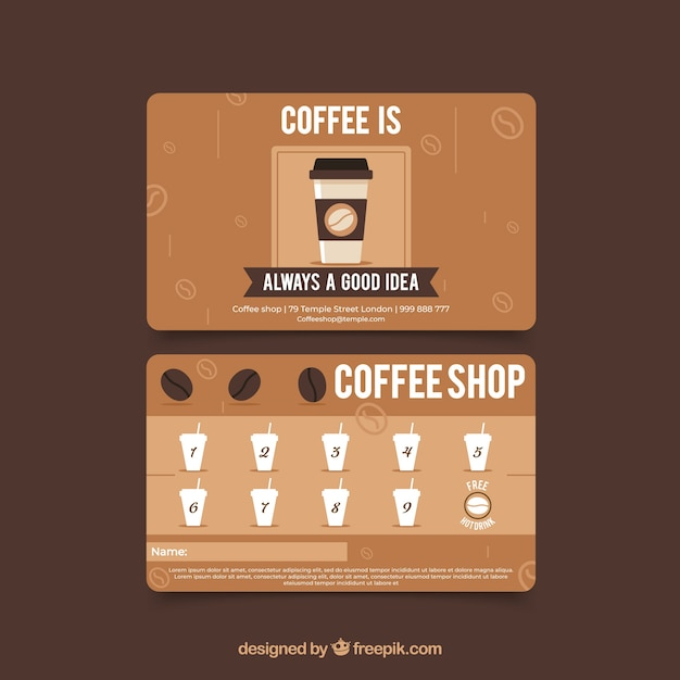 Cafe loyalty card template with modern style Free Vector