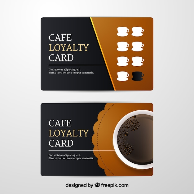 Cafe loyalty card template Free Vector