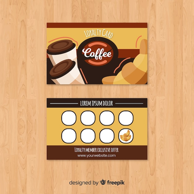 Cafe loyalty card with modern style Free Vector