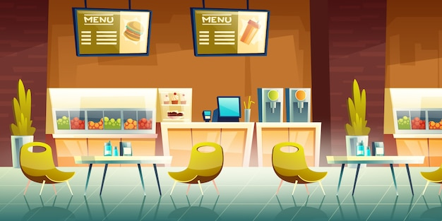 Cafe, mall food court interior Free Vector