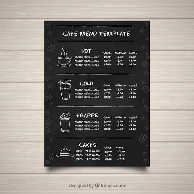 Cafe menu template in blackboard style Free Vector