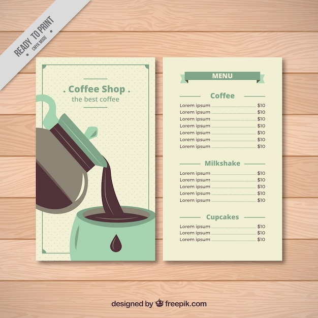 Cafe menu template in vintage style Free Vector