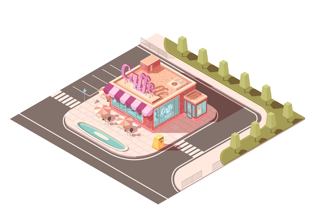 Cafe outside view isometric design Free Vector