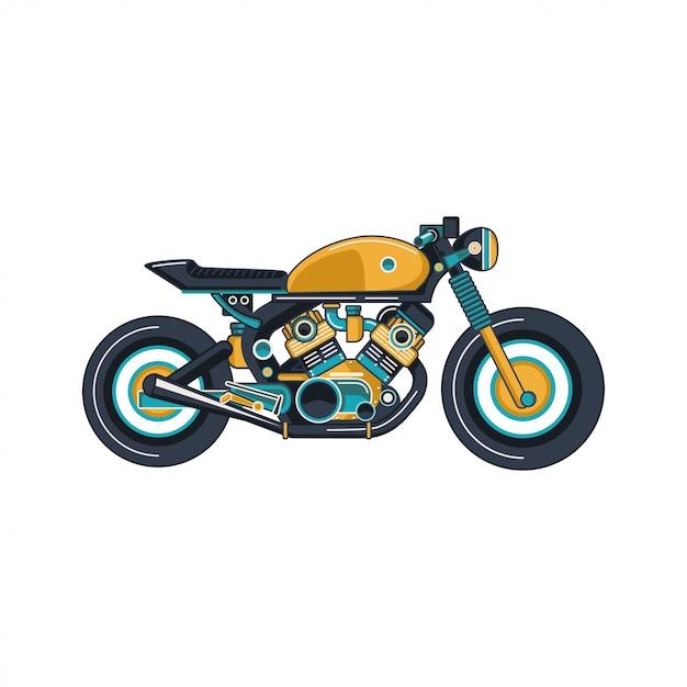 Cafe race motor vector Premium Vector