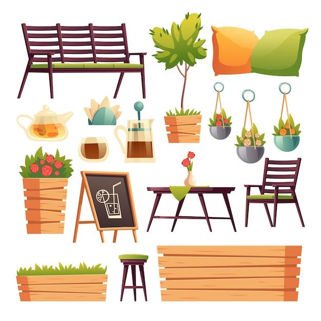 Terrazza bar o ristorante con bancone bar in legno, sedute, fiori e piante Vettore gratuito