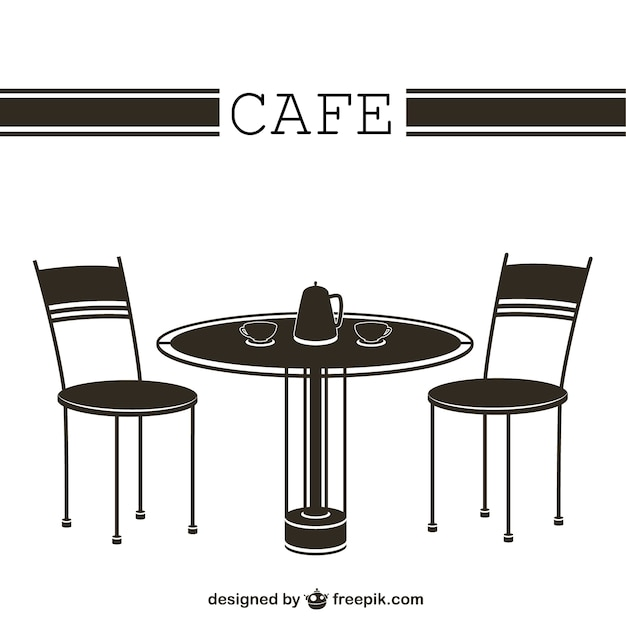 Cafe Table And Chairs Free Vector