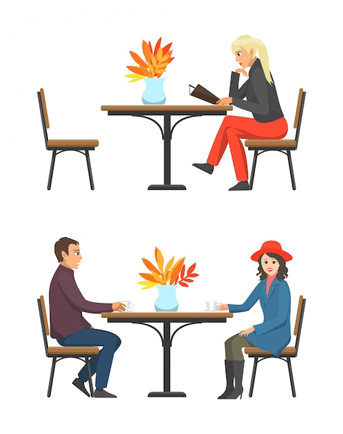 Cafe table and customers drinking tea set vector Premium Vector