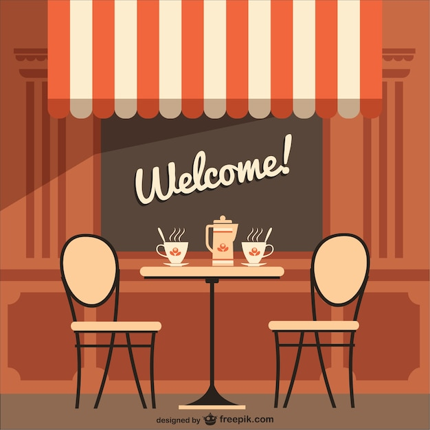 Cafe terrace with welcome message Free Vector