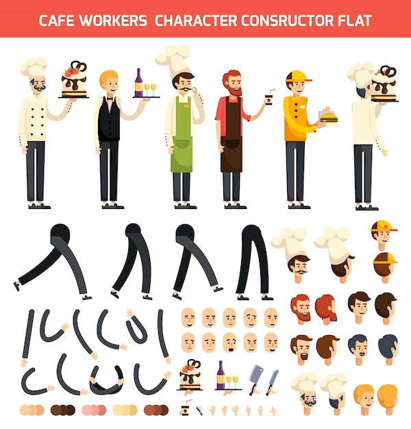 Cafe worker character icon set Free Vector
