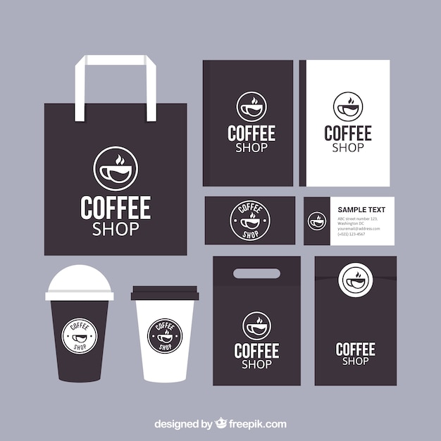 Cafeteria brand stationery set Free Vector