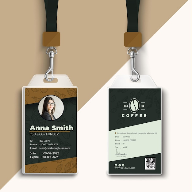 カフェテリアコーヒーショップidカードテンプレート 無料ベクター