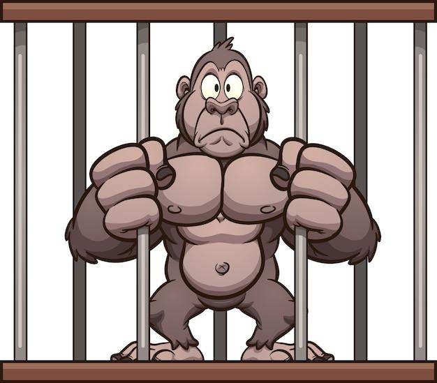 Caged gorilla Premium Vector