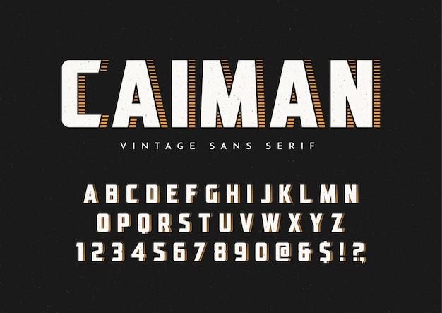 Caiman trendy sans serif retroフォント Premiumベクター