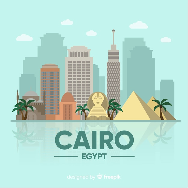 Cairo skyline composition with flat design Free Vector