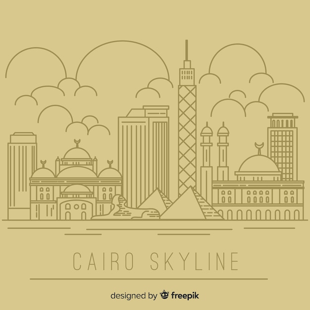 Cairo skyline composition with lineal style Free Vector