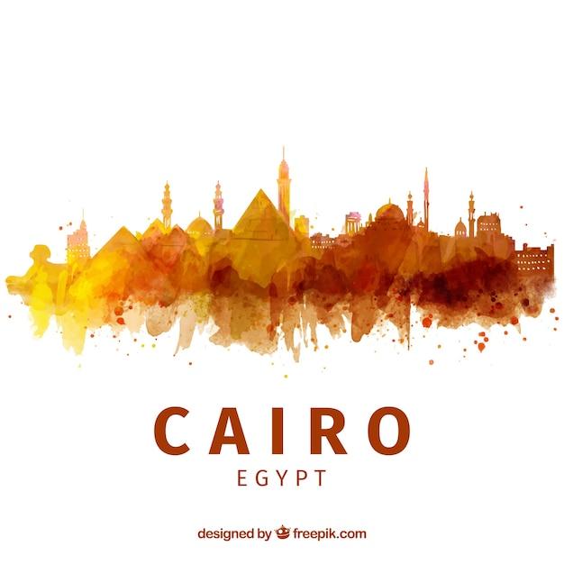 Акварель cairo skyline с элегантным стилем Бесплатные векторы