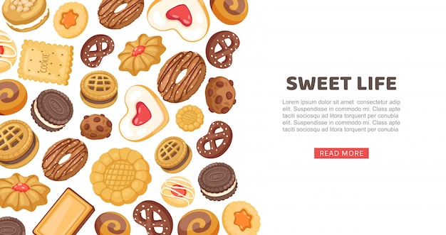 Cake banner, sweet life  illustration. cookie, cupcake sweet food pastry, delicious  web page. sugar dessert set Premium Vector