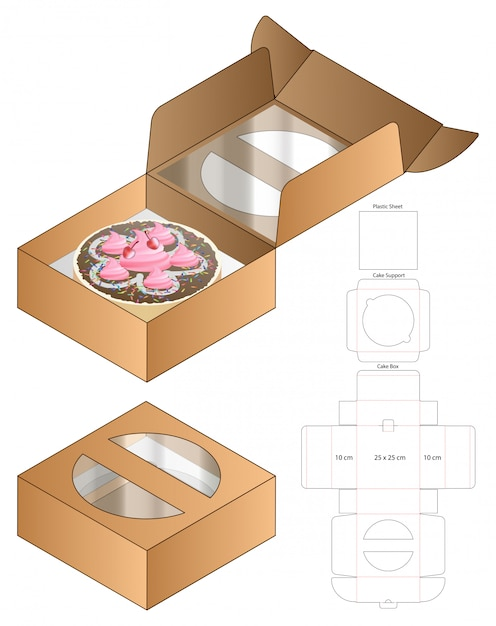 Cake box packaging die cut template design. 3d mock-up Premium Vector