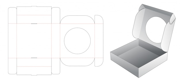 Cake box with circle window die cut template Premium Vector