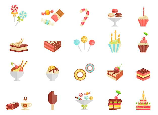 Cake candy and ice cream icons with assorted slices and wedges of cake Free Vector