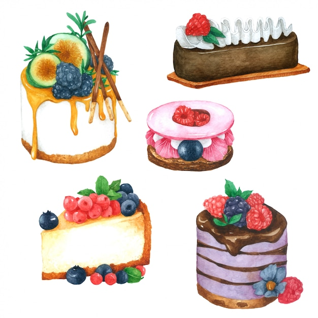 Cake hand pained in watercolor collection Premium Vector