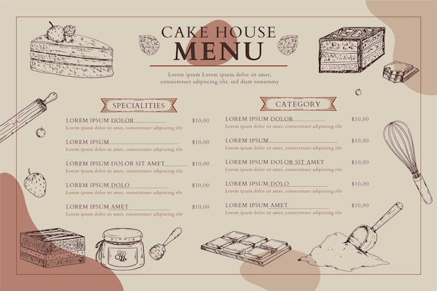 Formato orizzontale del menu della casa della torta Vettore gratuito