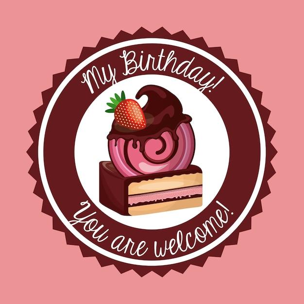 Cake Icon Happy Birthday Design Vector Graphic Vector Premium