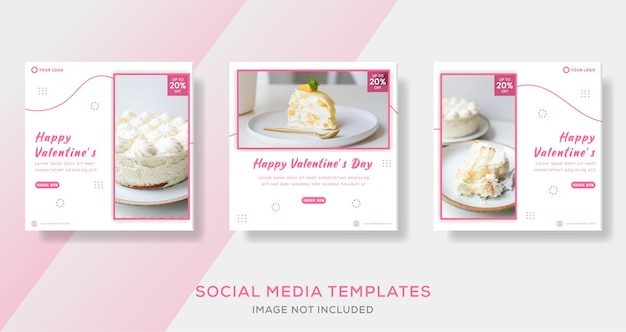 バレンタインデーのケーキメニュー、instagramの投稿テンプレート、正方形のサイズ Premiumベクター