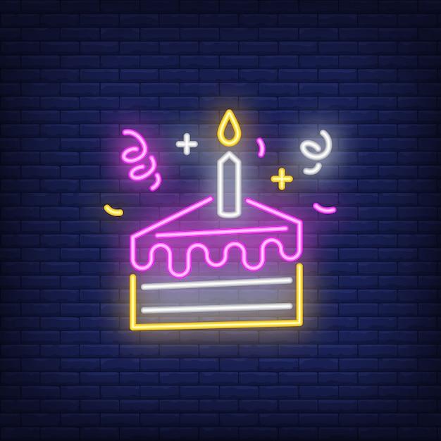 Cake slice neon sign Free Vector