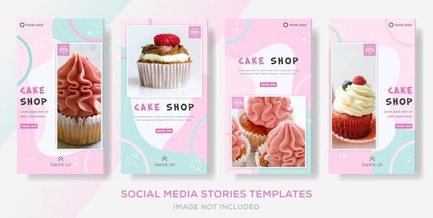 ケーキスイーツショップカラフルなバナーコレクションストーリー投稿 Premiumベクター