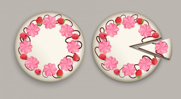 Cake top view realistic Free Vector