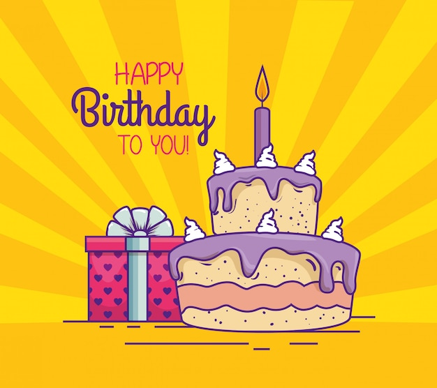Cake with candle and present gift decoration Free Vector