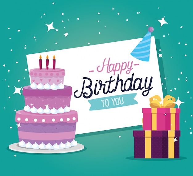 Cake with candles and presents gifts decoration Free Vector