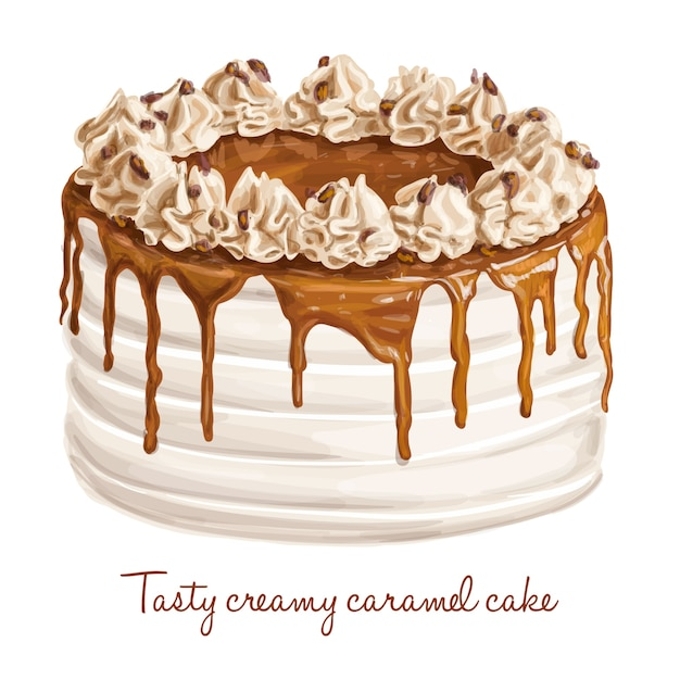 Cake with caramel Free Vector